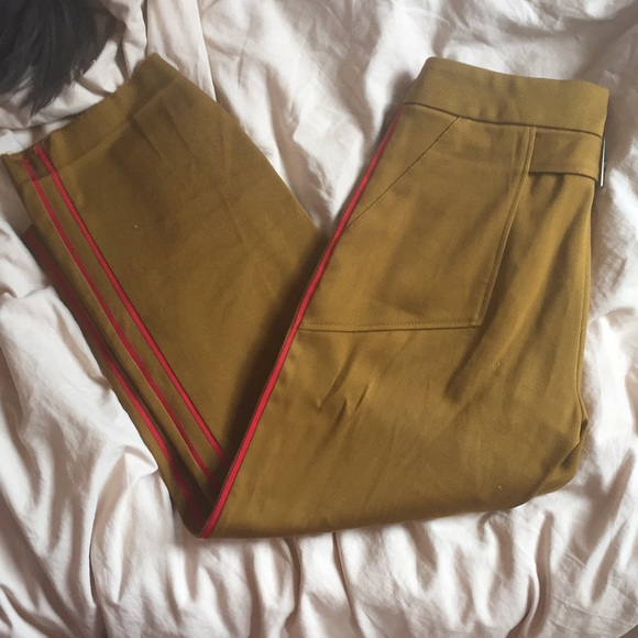 Zara Pants - Zara Mustard Utility Pants with Red Stripe